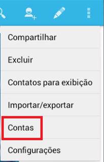 Clique em Contas - BlueStacks