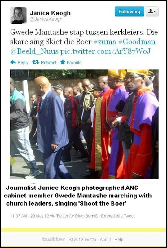 ANC HATESPEECH MAY29 2012 CHURCH LEADERS SING SHOOT THE BOER pic Janice Keogh