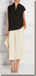 Joseph wrap effect silk top and cream culottes