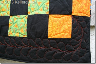 Quilt074-Schwarz-Orange Detail