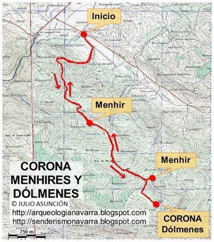 MAPA CORONA - MENHIRES Y DÓLMENES