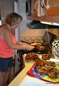 Diane setting up the buffet