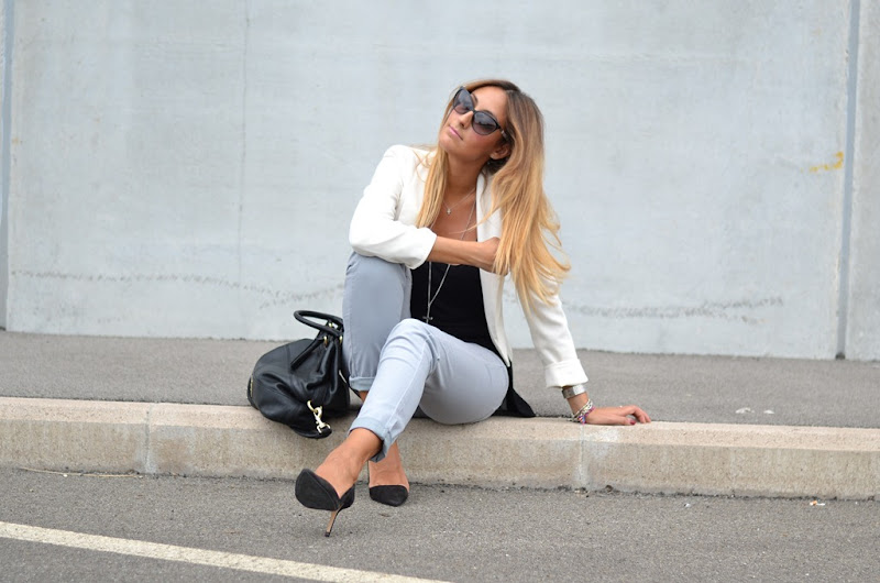 Rifle, Primark, Primark Blazer, Gray Pants, White Blazer, Givenchy, Givenchy Bag, Zara, Zara shoes, Christian Dior Zeli Sunglasse