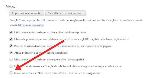 Google Chrome 23 -  attivare Do-Not-Track