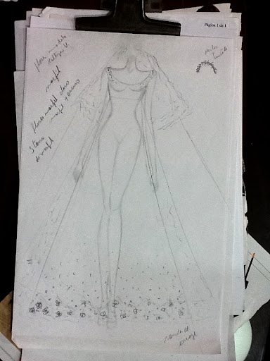 An initial sketch by Keny, the dressmaker.