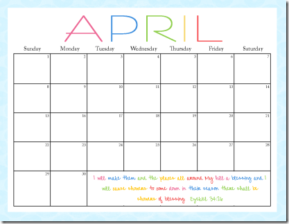 The Blogging Pastors Wife: Printable April Calendars 2012