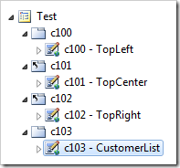 User controls populated for each container on Test page.