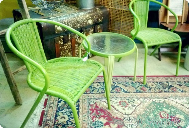 green patio set
