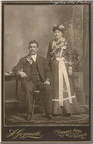 Cabinet Card Wedding white long bows Duluth Antiques