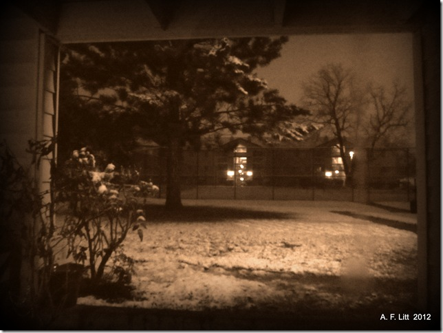 Snow.  Gresham, Oregon. March 13, 2012.  1:56 AM.