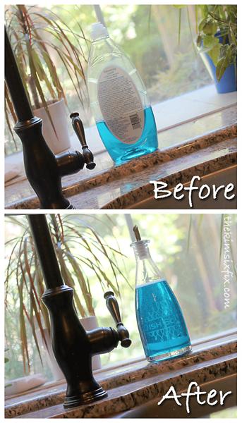 Etched dish soap bottle