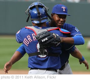 'Neftali Feliz and Yorvit Torrealba' photo (c) 2011, Keith Allison - license: http://creativecommons.org/licenses/by-sa/2.0/