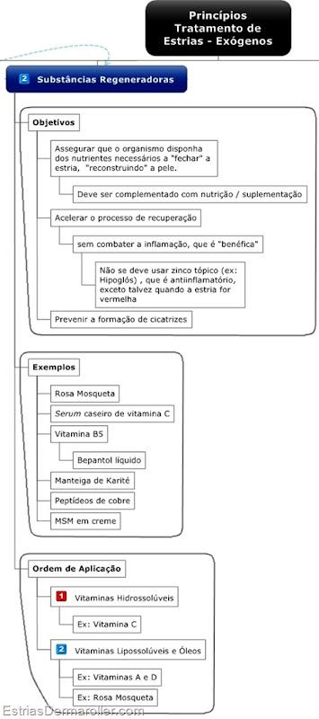 Cremes e Produtos utilizados no tratamento de estrias: bepantol, manteiga de karit, peptdeos de cobre, leo de rosa mosqueta e vitamina C.