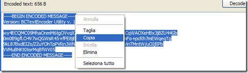 BCTextEncoder copiare testo criptato