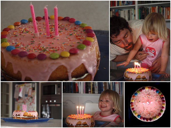 her birthday cake on the day