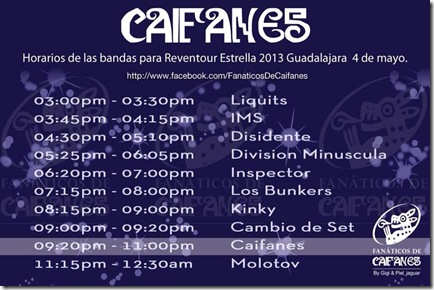 horarios de presentacion en el reventour 2013
