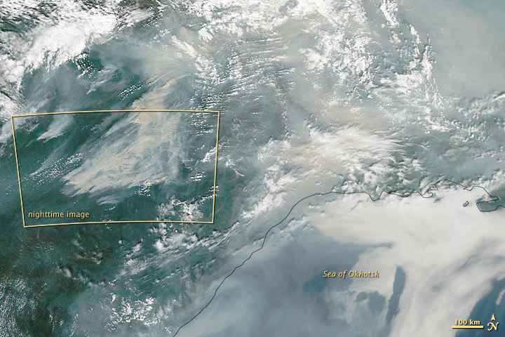 The Moderate Resolution Imaging Spectroradiometer (MODIS) instrument on NASA's Aqua satellite, acquired a view of the same group of fires on 3 August 2012. The fires detailed in the yellow box were burning in the southeastern part of Yakutia, near the port city of Yakutsk along the Lena River. NASA Earth Observatory image by Jesse Allen and Robert Simmon, using VIIRS Day Night Band data