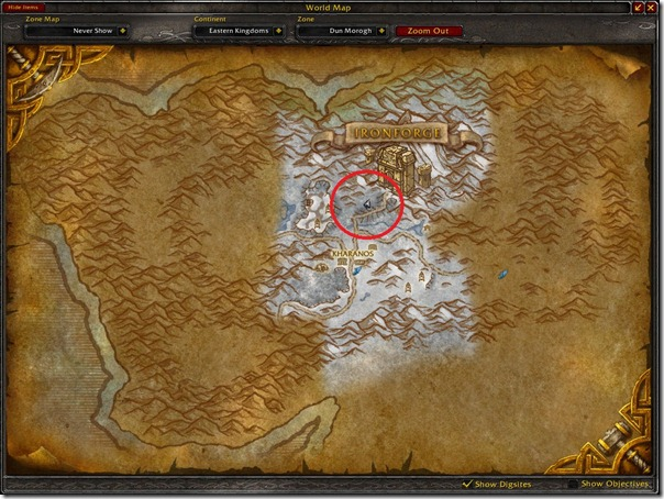 Down with the Dark Iron Location