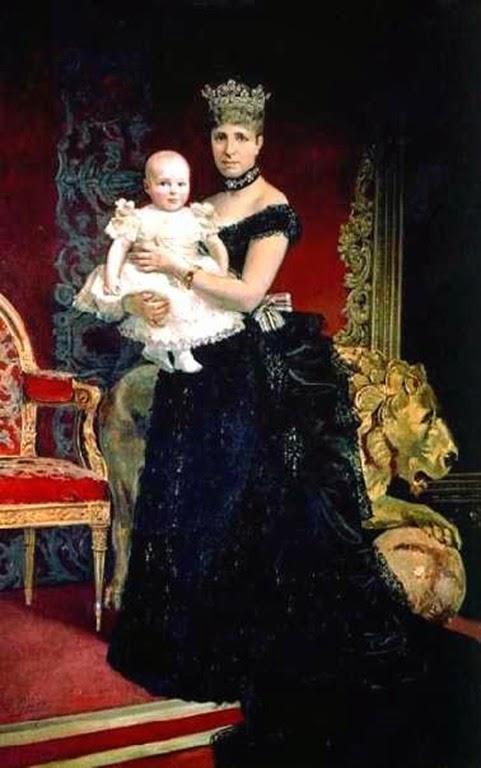 Retrato de la Reina Vda. María-Cristina de Austria-Lorena, Regente de España, con su hijo el rey Alfonso XIII en brazos, en 1887.