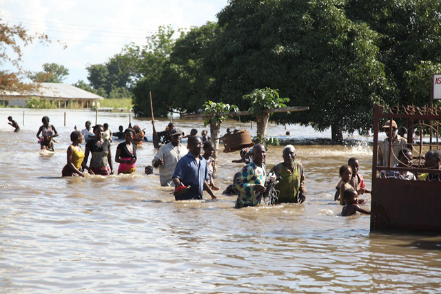 Refugees wade through floodwaters in Edo State, Nigeria, 3 October 2012. naijanation.com