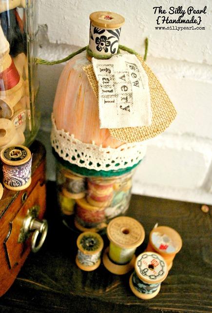 Sew Very Fall Vintage Spool Pumpkin Mason Jars - The Silly Pearl