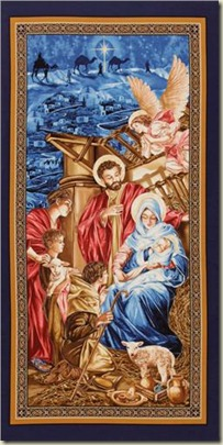 Timeless Treasures Nativity Manger Panel Blue_Gold_6.48