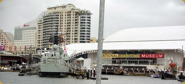 HMAS Vampire & Oberon Class submarine in front of the National Maritime Museum