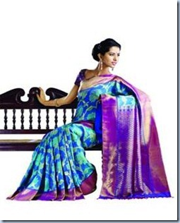 peacock blue kancheepuram silk sarees