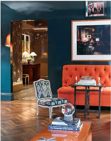Isn't the glossy blue of this wall amazing? http://pinterest.com/pin/177962622745075573/