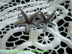 pewter double star connector ring, hyphen