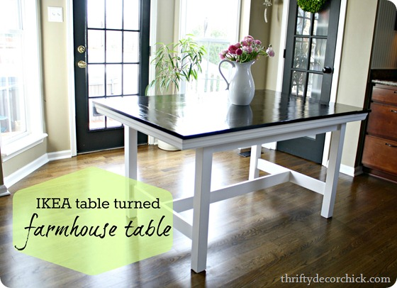 IKEA table turned farmhouse tableIKEA table turned farmhouse table from Thrifty Decor Chick. Dining Table Ikea Hack. Home Design Ideas