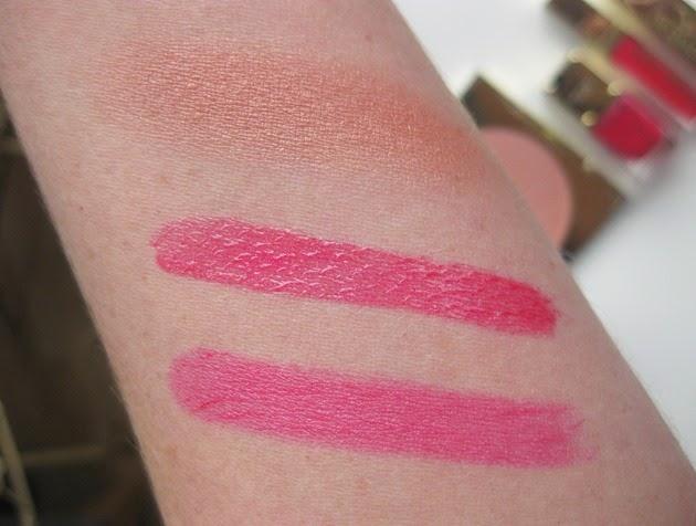 Michael-Kors-swatches-Bombshell-lipstick-Siren-lipgloss-Flushed-bronzer