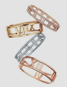 Atlas® bangles 18k rose gold with diamonds, 18k gold, 18k white gold with diamonds, 18k gold.