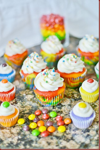 These were really fun and the kids LOVED them Rainbow Cupcakes