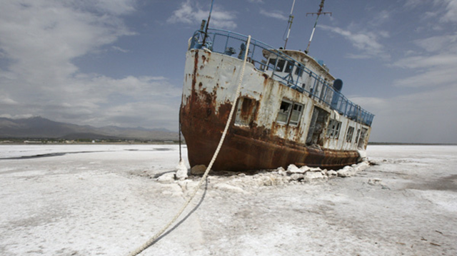 An abandoned ship is stuck in the solidified salts of the Oroumieh Lake, some 600 kilometres northwest of the capital Tehran, Iran, Friday, April 29, 2011. AP Photo / Vahid Salemi