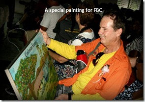 Admiring the painting commissioned just for FBC from the Maniche church tagged