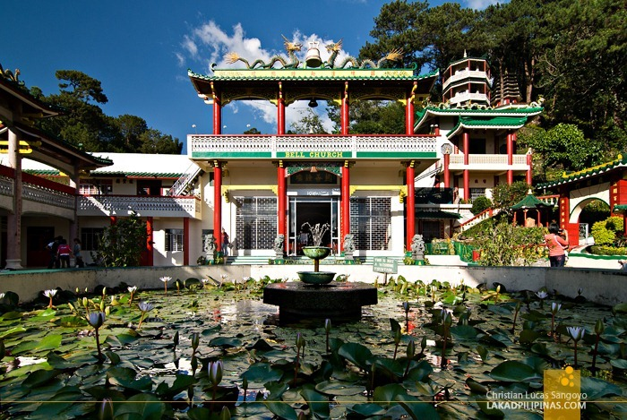 Baguio City's Bell Church and the Lotus Pond in Front