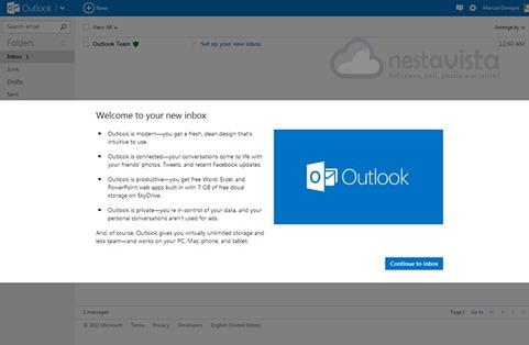 Mensaje de bienvenida de Outlook