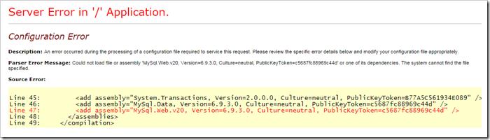MySQL connector for .NET server error.