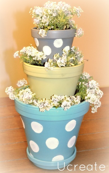 Mini Stacked Pots Tutorial - great Mother's Day Gift, too!