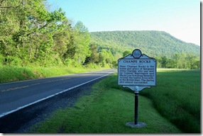 Champe Rocks marker looking south on Routes 28 & 55