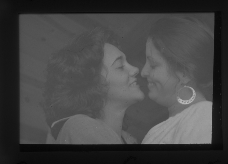 Delene Bivolcic and Susan Greenspan embracing at the Gay Community Services Center (GCSC). Circa 1972