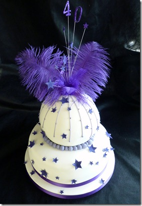 buable 2 tier birthday cake in purple