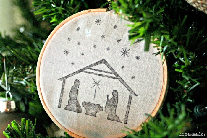 Embroidery Hoop Ornament Nativity