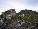 The top of Tapal Kuda peak on Sibayak, Gunung Pintau beyond (Daniel Quinn, August 2011)