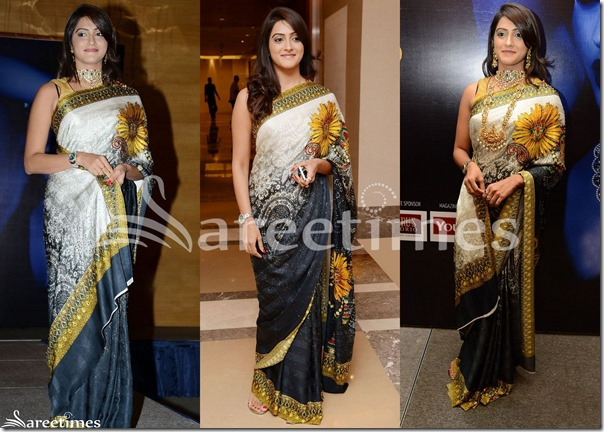 White_Black_Dual_Color_Printed_Saree