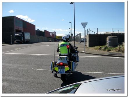Road block at Wellington airport, Rongotai for a VIP entourage.