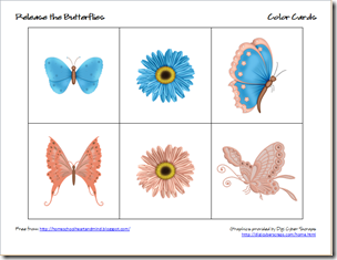 butterflies color cards 3
