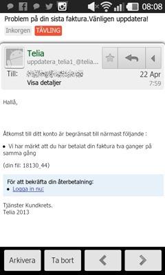 Falskt mail från Telia