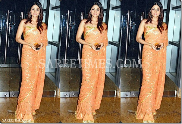 Shamita_Shetty_Orange_Designer_Saree